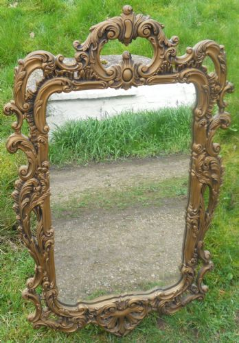 Ornate Carved Gilt Hanging Wall Mirror